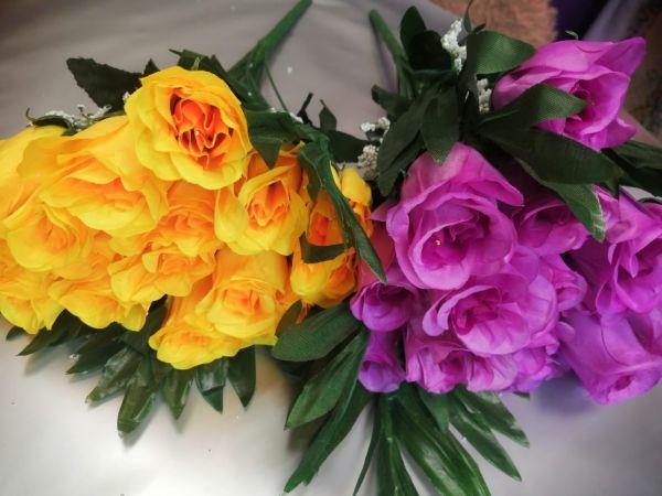 Роза букет из 18 бутонов, высота 45см, цвета разные